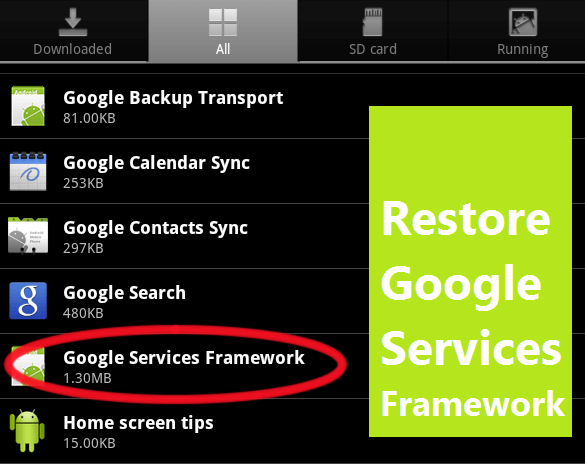 how to fix google framework